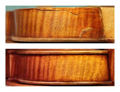 提琴侧板裂缝的修复
