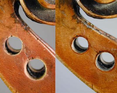 提琴弦轴盒盒壁修复