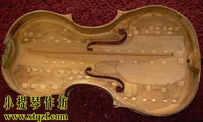 小提琴面板修复后的样子